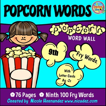 Popcorn Word Wall - (Fry's 9th 100 Sight Words) With Alphabet Labels