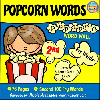Popcorn Word Wall - (Fry's 2nd 100 Sight Words) With Alphabet Labels