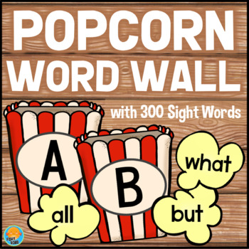 Popcorn Word Wall with 300 Sight Words + Editable Cards
