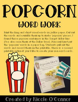 Popcorn Word Work Freebie!