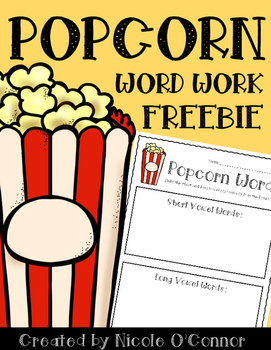 Popcorn Word Work Freebie! by Nicole O'Connor - Firstie Favorites