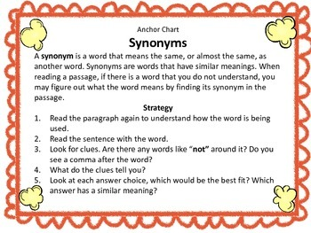 Synonyms, Comprehension and Writing