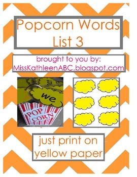 Popcorn Words - List 3 Set
