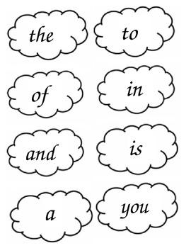 Popcorn Words - Lists 1-4 & Blank Set
