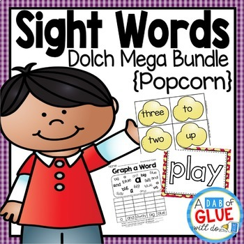 Sight Word Activities, Centers, and Word Wall: Dolch Mega Bundle {Popcorn}