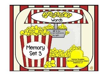 Popcorn Words: Memory Set 3