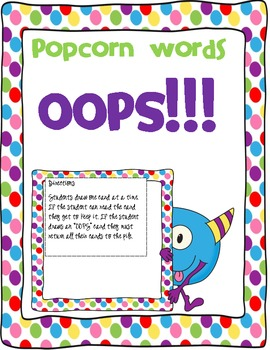 Popcorn Words OOPS Game