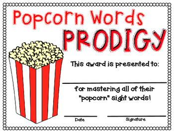 Popcorn Words Prodigy Certificate