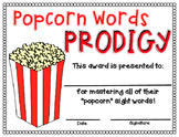 Popcorn Words Prodigy Certificate