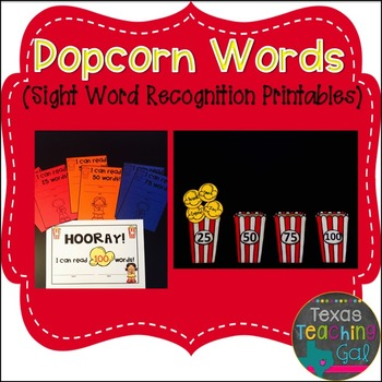 Popcorn Words Sight Word Recognition Printables