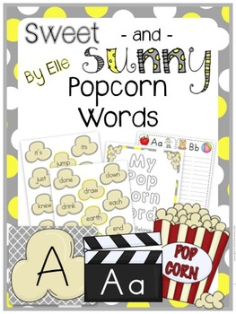 Popcorn Words - Sweet and Sunny Theme {Yellow and Grey}