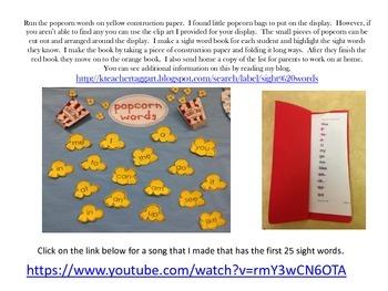 Popcorn Words (Teacher College Sight Words List A & B)