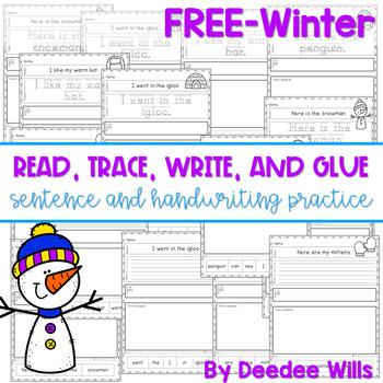 Winter:   Read, Trace, Glue, and Draw FREEBIE