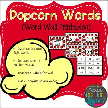 Popcorn Words Template Worksheets & Teaching Resources | TpT