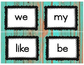 Popcorn Words Word Wall With Banner- Distressed Wood and Wonderland Theme