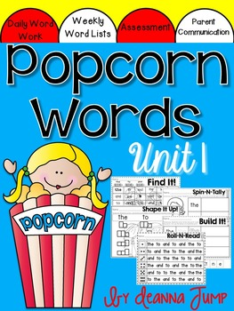 Sight Words Popcorn Words activities for centers and Word Work set 1