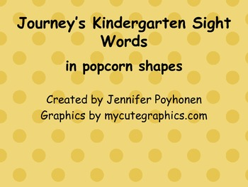 Popcorn Words for Kindergarten Journey's Reading Series