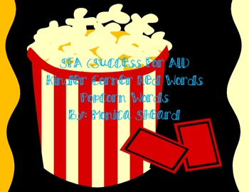 Popcorn Words (red words from SFA Kinder Corner program)