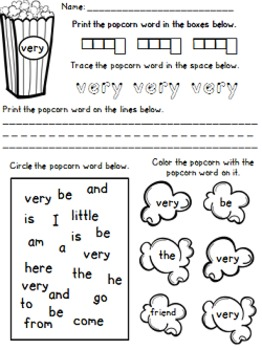 Popcorn Words/Sight Words Practice Sheets