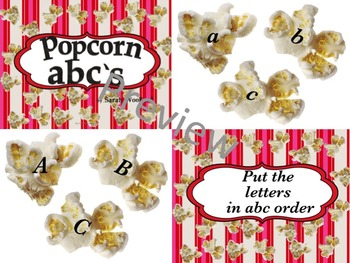 Popcorn abc's for Pre-K-1st Grade