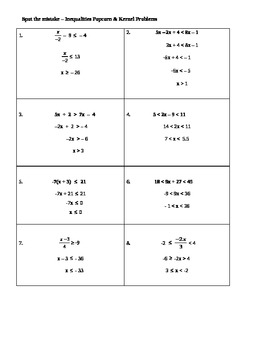 Find the Mistake Solving Multistep & Combined Inequalities - Popcorn and Kernel