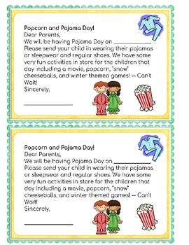 Popcorn and Pajama Day Letter