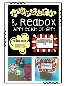 Popcorn and Redbox Movie Night Thank You Printable