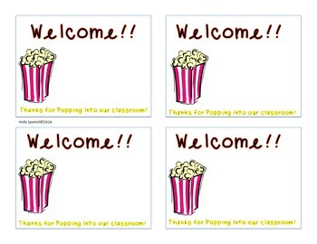 Popcorn sticker for Open House/Curriculum Night