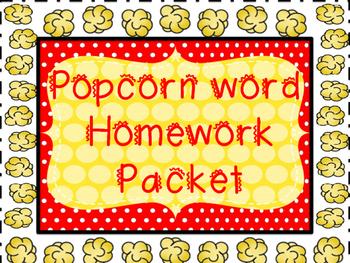 Popcorn word Homework Pack