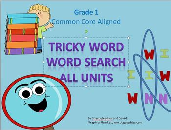 Common core tricky word first grade word searches