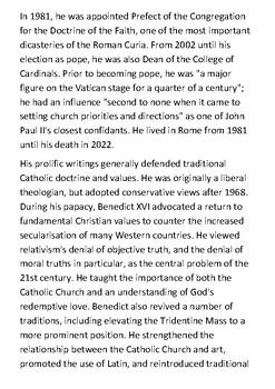Pope Benedict XVI Handout