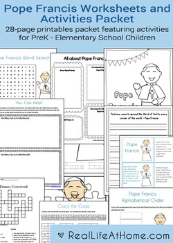 Pope Francis Activities Printable Packet