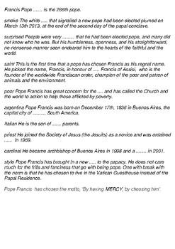 Pope Francis Cross Word