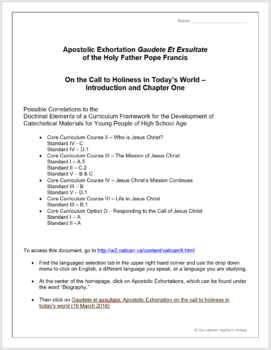 Pope Francis Reading Activity: Gaudete Et Exsultate, Chapters 1 and 2