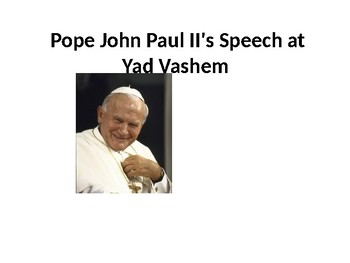 Pope John Paul II's Speech at Yad Vashem