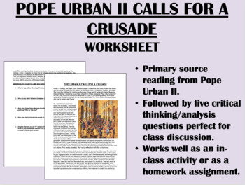 """""""Pope Urban II Calls for a Crusade"""" - Reading w/ Questions-Global/World History"""