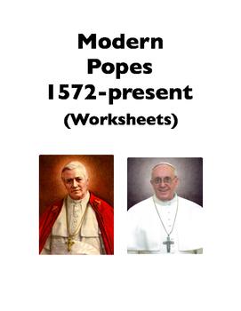 Popes: Modern Popes (Worksheets)