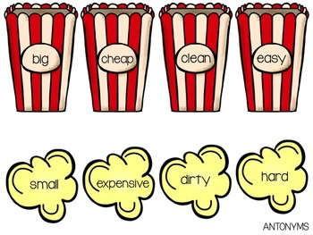 Poppin' Antonym Sorting Center Activity