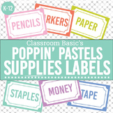 Poppin' Pastels Printable Supplies Labels (Editable!) - 6 Colors!