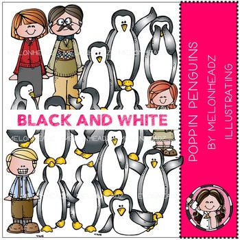 Poppin Penguins by Melonheadz BLACK AND WHITE