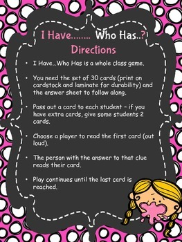 Place Value - I Have Who Has Game