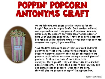 Poppin' Popcorn Antonyms (Activity and Craft)