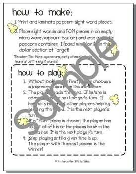 Poppin' Popcorn Words: A Sight Word Game of Fry's Second 100 Words