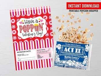 Poppin' Valentine's Day label, Microwave Popcorn Wrapper, School Exchange Ideas
