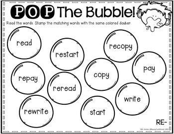 Prefixes Activities Pack