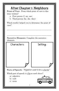 Poppleton (Cynthia Rylant) Novel Study / Reading Comprehension  (16 pages)