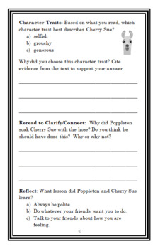 Poppleton (Cynthia Rylant) Novel Study / Reading Comprehension  (16 pages)