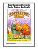 Poppleton in Fall by Cynthia Rylant - Reading Response Questions