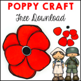 Poppy Craft ANZAC Remembrance Veterans Day FREE DOWNLOAD
