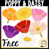 Poppy & Daisy Spring Flower Clipart- FREE